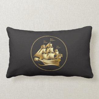Homens náuticos do veleiro do ouro almofada lombar