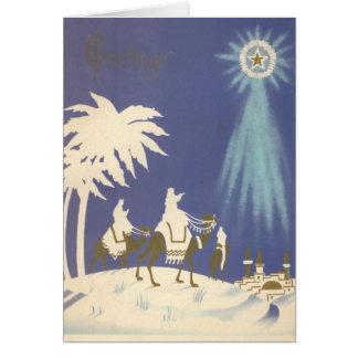 Homens sábios religiosos do natal vintage três cartão comemorativo