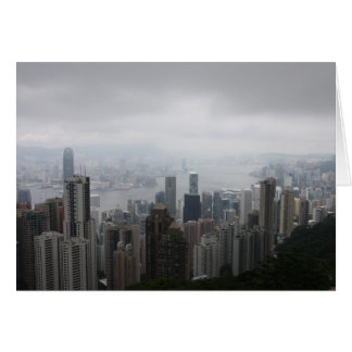 Hong Kong no cartão da névoa