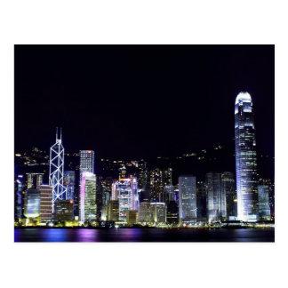 Hong Kong no cartão da noite