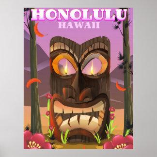 Honolulu Havaí o poster de viagens da máscara