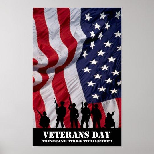 Honrando aqueles que serviram.  Dia de veteranos Pôster