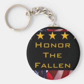 Honre o tributo militar caído chaveiro