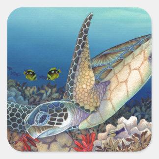 Honu (tartaruga de mar verde) adesivo quadrado