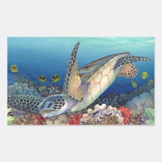 Honu (tartaruga de mar verde) adesivo retangular