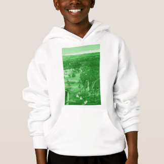 Hoodie 1879 do mapa de Brooklyn do vintage no Aqua