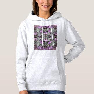 Hoodie à terra malva do Fractal 2 da flor (cinza) Moletom