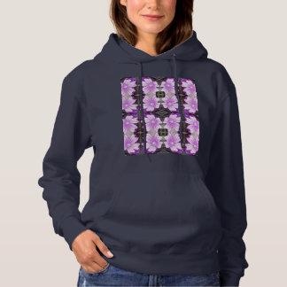 Hoodie à terra malva do Fractal da flor 706A Camisetas