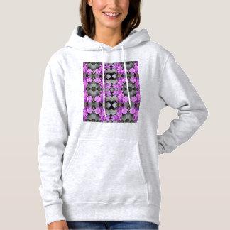 Hoodie à terra malva do Fractal da flor 706B T-shirts