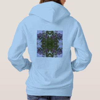 Hoodie malva do Fractal da flor & do céu da árvore T-shirt