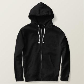 Hoodie Sherpa-Alinhado bordado costume do fecho de Moletom Com Capuz E Ziper Bordado