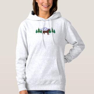 Hoodie verde das árvores do esboço de Labrador do Moletom