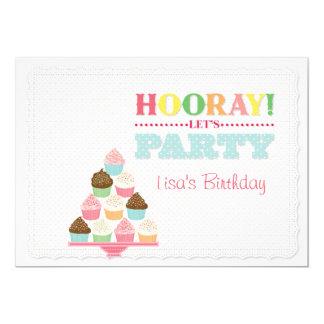 Hooray! Deixe-nos Party convites dos cupcakes