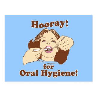 Hooray para a higiene oral retro cartão postal