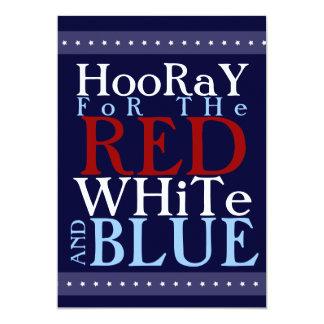Hooray para o branco e o azul vermelhos 4o julho convite 12.7 x 17.78cm