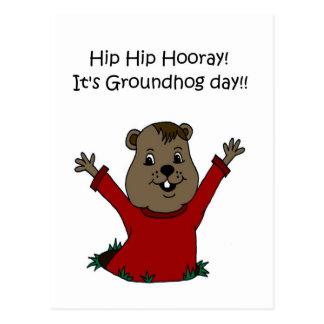 Hooray seu cartão do dia de Groundhog no branco