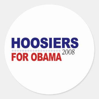 Hoosiers para Obama Adesivos Redondos