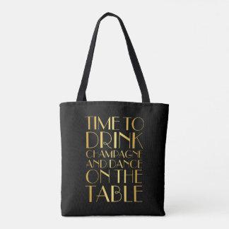 Hora de beber o bolsa de Champagne - ouro