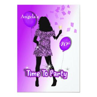 Hora feminino chamativo roxa de party convite 12.7 x 17.78cm