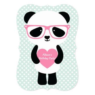 Hortelã bonito/rosa da panda convite 12.7 x 17.78cm