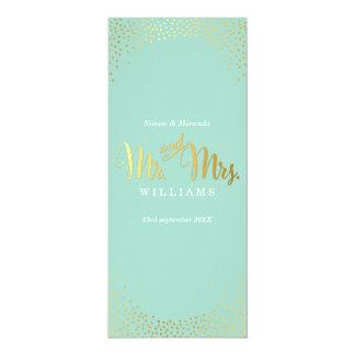 Hortelã dos confetes do ouro do MENU do COMENSAL Convite 10.16 X 23.49cm
