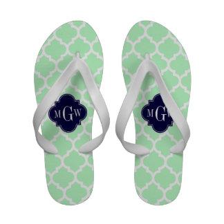 Hortelã monograma inicial do marinho 3 brancos do calçados