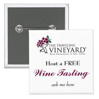 Hospede uma degustação de vinhos livre bóton quadrado 5.08cm