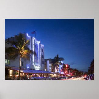 Hotel da baliza, movimentação do oceano, Miami Bea Poster