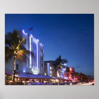Hotel da baliza, movimentação do oceano, Miami Bea Posteres