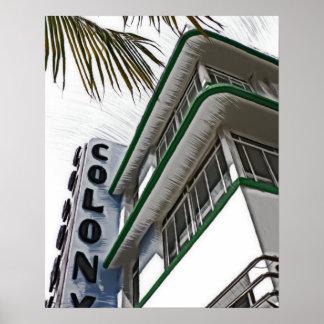 Hotel da colônia, Miami, FL Pôster