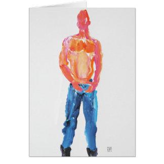 Hottie que remove os jeans 1 cartão comemorativo