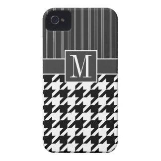 Houndstooth preto & branco capa para iPhone 4 Case-Mate