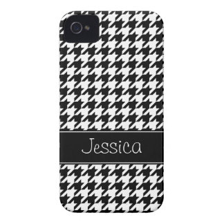 Houndstooth preto e branco formal personalizado capa para iPhone