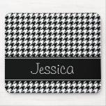Houndstooth preto e branco formal personalizado mouse pad