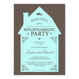 Housewarming azul da casa do aqua marrom elegante convite 11.30 x 15.87cm