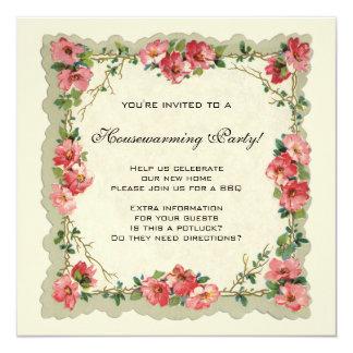 Housewarming do vintage, flores antigas dos rosas convite quadrado 13.35 x 13.35cm