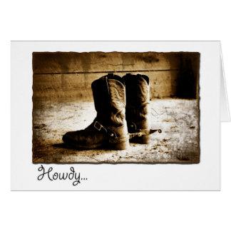 Howdy cartão de nota com as botas afligidas no