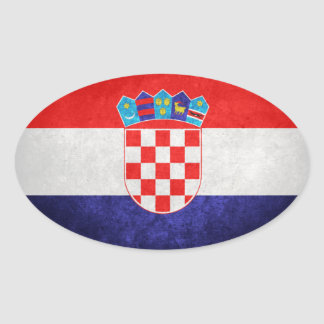 Hrvatska; Bandeira de Croatia Adesivo Oval