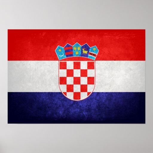 Hrvatska; Bandeira de Croatia Pôsteres