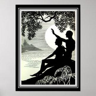 """""""Hula Moons"""" o impressão 12 x 16 do art deco"""