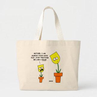 Humor amarelo engraçado da mãe e da criança dos bolsa tote grande