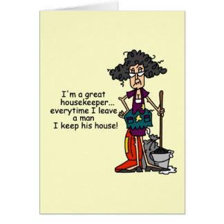 Humor da empregada cartão comemorativo