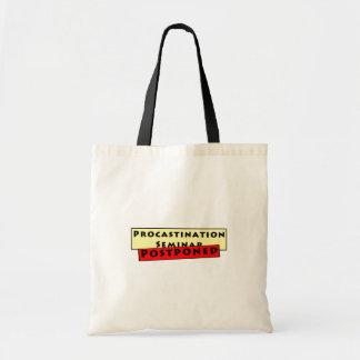 Humor da procrastinação para procrastinadores bolsas para compras