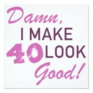Humor do aniversário de 40 anos convite quadrado 13.35 x 13.35cm