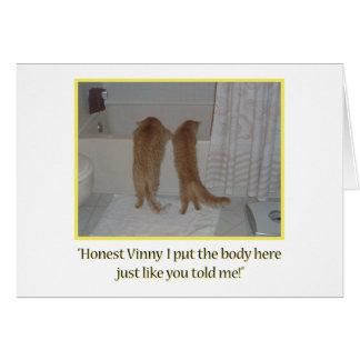 Humor do gato cartão