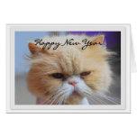 Humor do gato persa do feliz ano novo cartão