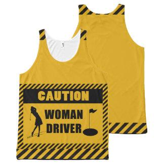 Humor do golfe do motorista da mulher do cuidado regata com estampa completa