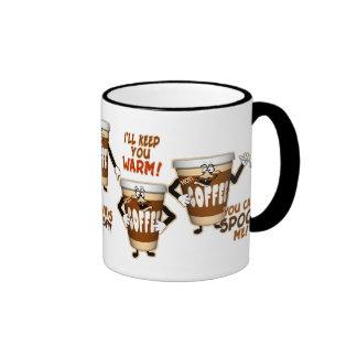 Humor engraçado do café caneca com contorno