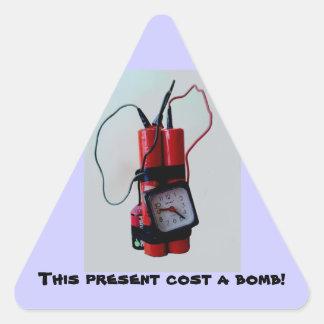 Humor preto - bomba trocista adesivo triangular