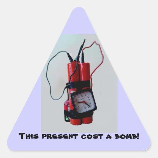 Humor preto - bomba trocista adesivos em forma de triângulo